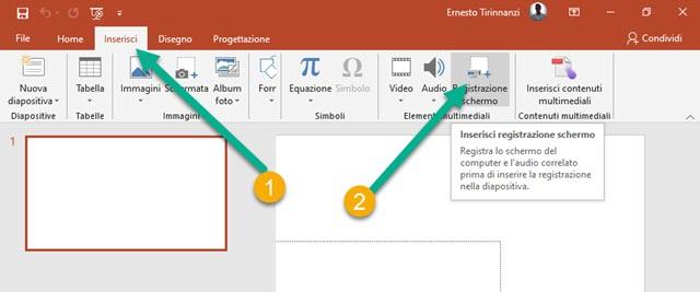 registrazione schermo con Powerpoint
