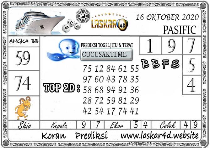 Prediksi Togel PASIFIC LASKAR4D 16 OKTOBER 2020