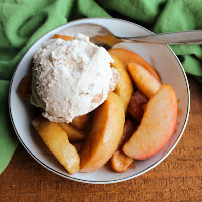 warm cinnamon apples topped with scoop of honey cinnamon ice cream