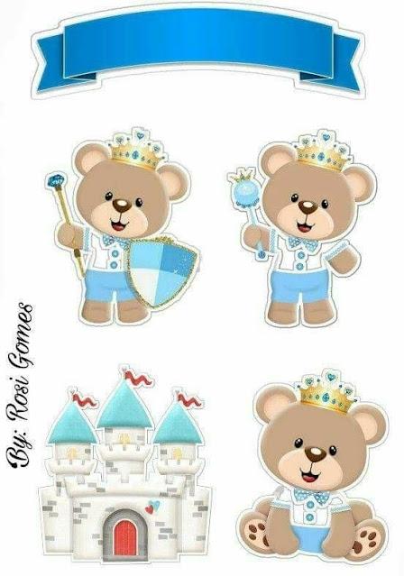 Osito Príncipe en Celeste: Toppers para Tartas, Bizcochos o Pasteles para Imprimir Gratis.