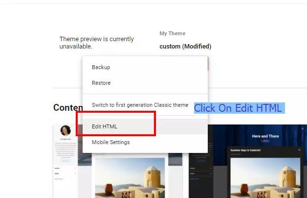 Click On Edit  Edit HTML