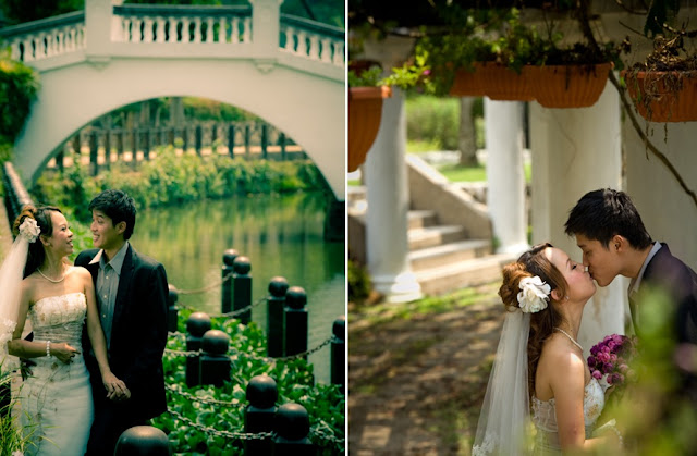 kissing wedding photo, bridge, pillars, danling flowers