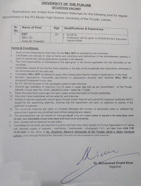 university-of-punjab-pu-jobs-2020-apply-onlinest-jobs