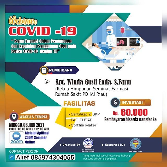 (2 SKP PAFI PUSAT) Webinar Covid-19 Peran Farmasi dalam Pemantatuan dan Kepatuhan Penggunaan Obat pada Pasien Covid-19