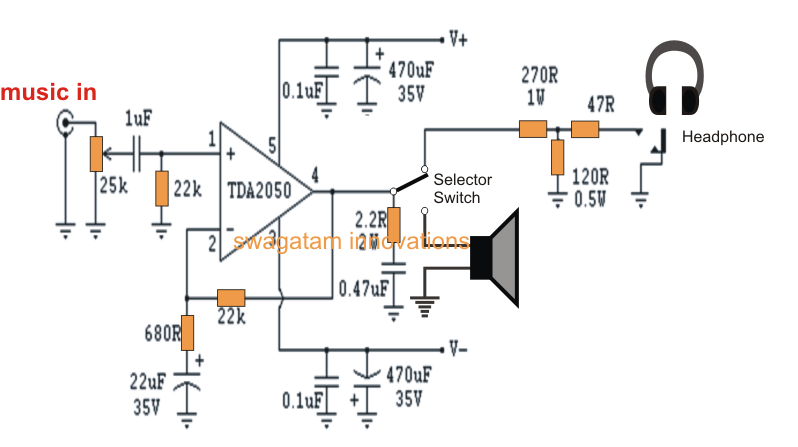 32 watt amplifier circuit using tda2050 ~ electronic circuit projects, Circuit diagram