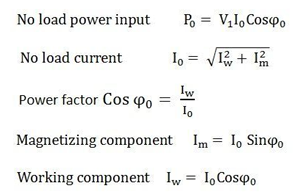 transformer no load equations formula