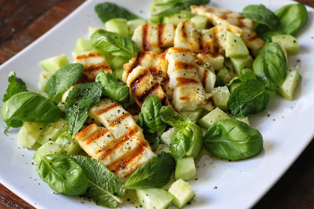 Grilled Halloumi with Cucumber