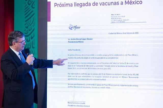 México reanudará la recepción semanal de vacunas de Pfizer. Presidencia