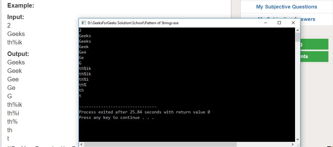 """Geeksforgeeks Solution For """" Pattern of Strings """""""