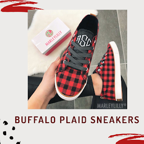 monogrammed buffalo plaid sneakers