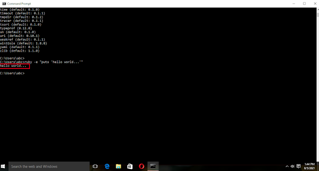 """Ruby -v """"puts 'hello world...'"""" command ( to print Hello world in Ruby on command line of Windows 10) Ruby download and installation tutorial for Windows 10"""