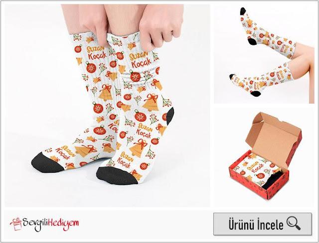Şirin Yılbaşı Desenleri İsimli Çorap