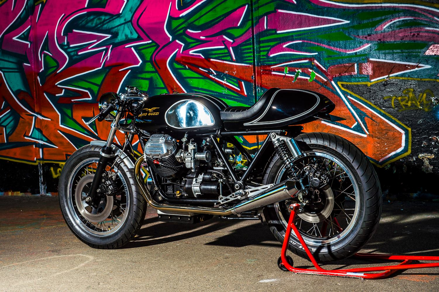 racing caf moto guzzi caf racer by side rock cycles. Black Bedroom Furniture Sets. Home Design Ideas