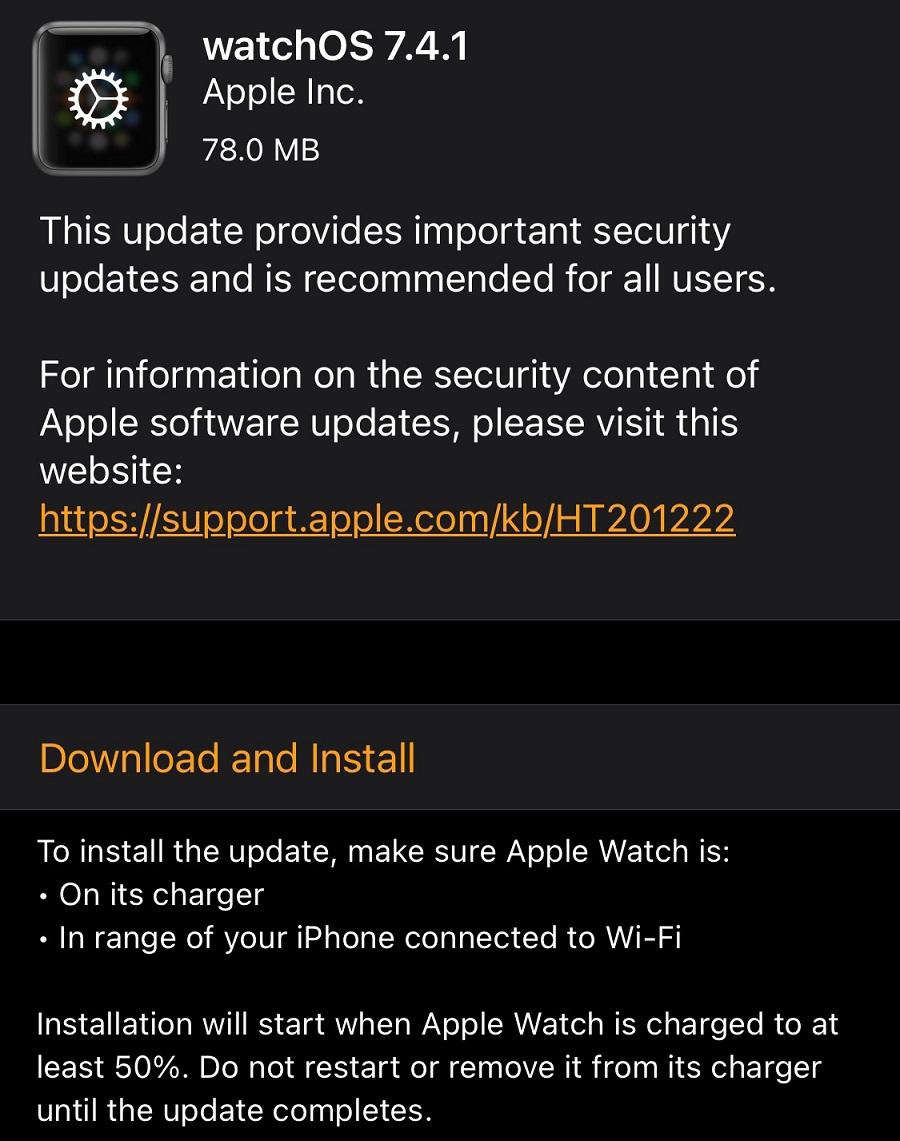 watchOS 7.4.1 Features