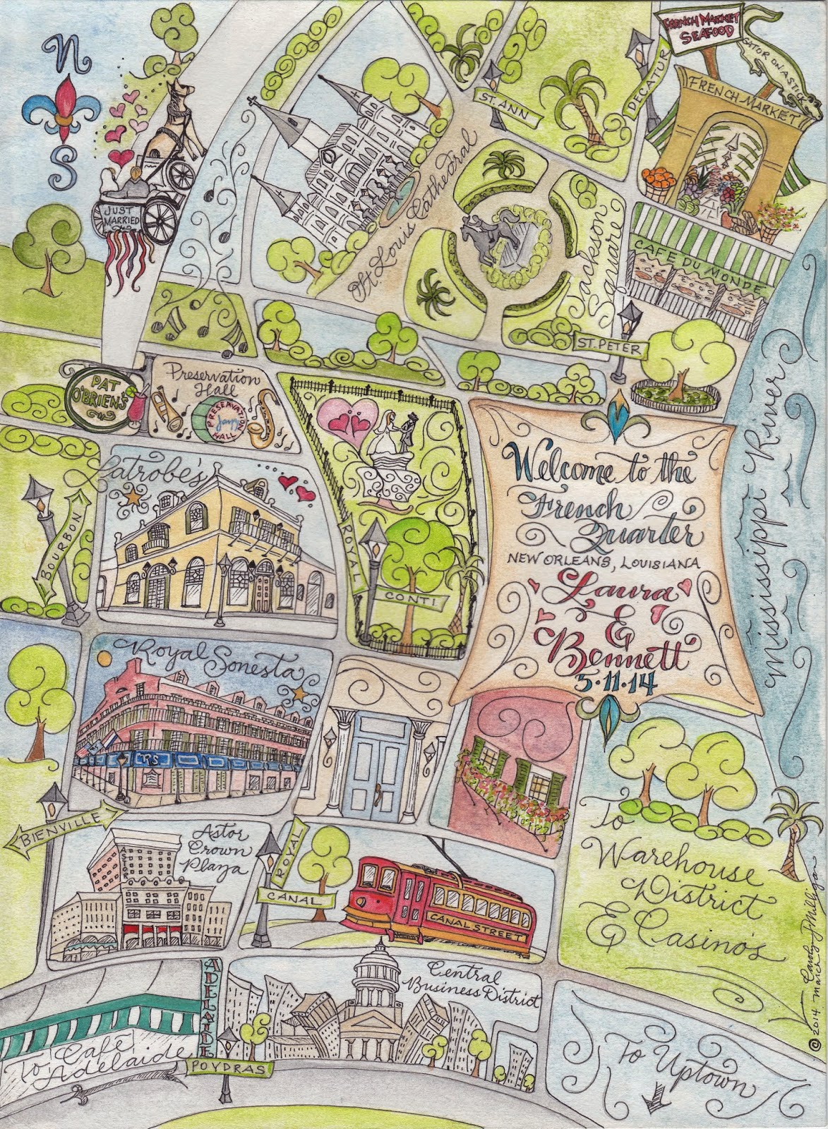 Scribe Design French Quarter New Orleans Map