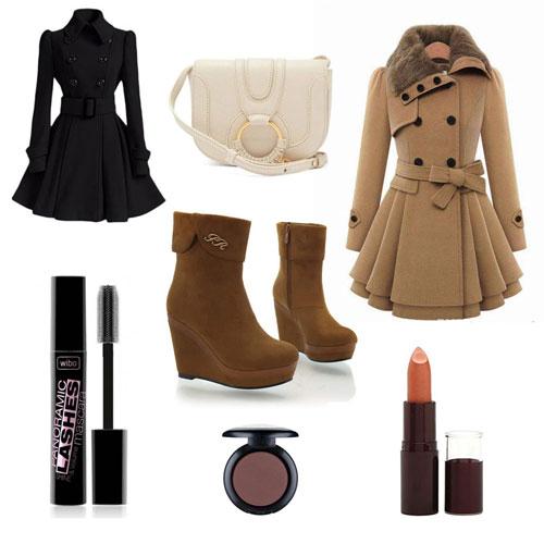 outfit con vestido y botines de cuña para otoño en negro y marrón