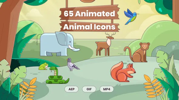 Videohive - 65 Animated Animal Icons - 28478278