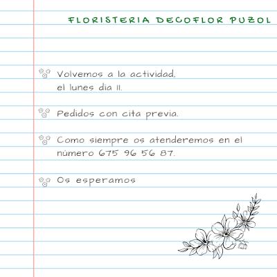 Pide tus flores a Floristería Decoflor Puzol a partir del lunes dia 11 de mayo