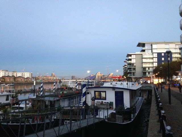 River Thames, looking east towards the rising super moon