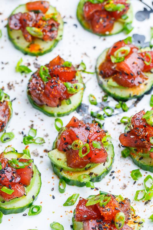 Spicy Tuna and Avocado Cucumber Sushi Bites – Diabetic