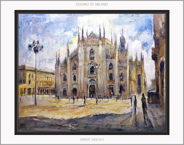 DUOMO-MILAN-PINTURA-CATEDRAL-PITTURA-MILANO-ARTE-ART-PAISAJES-ITALIA-CUADROS-ARTISTA-PINTOR-ERNEST DESCALS-