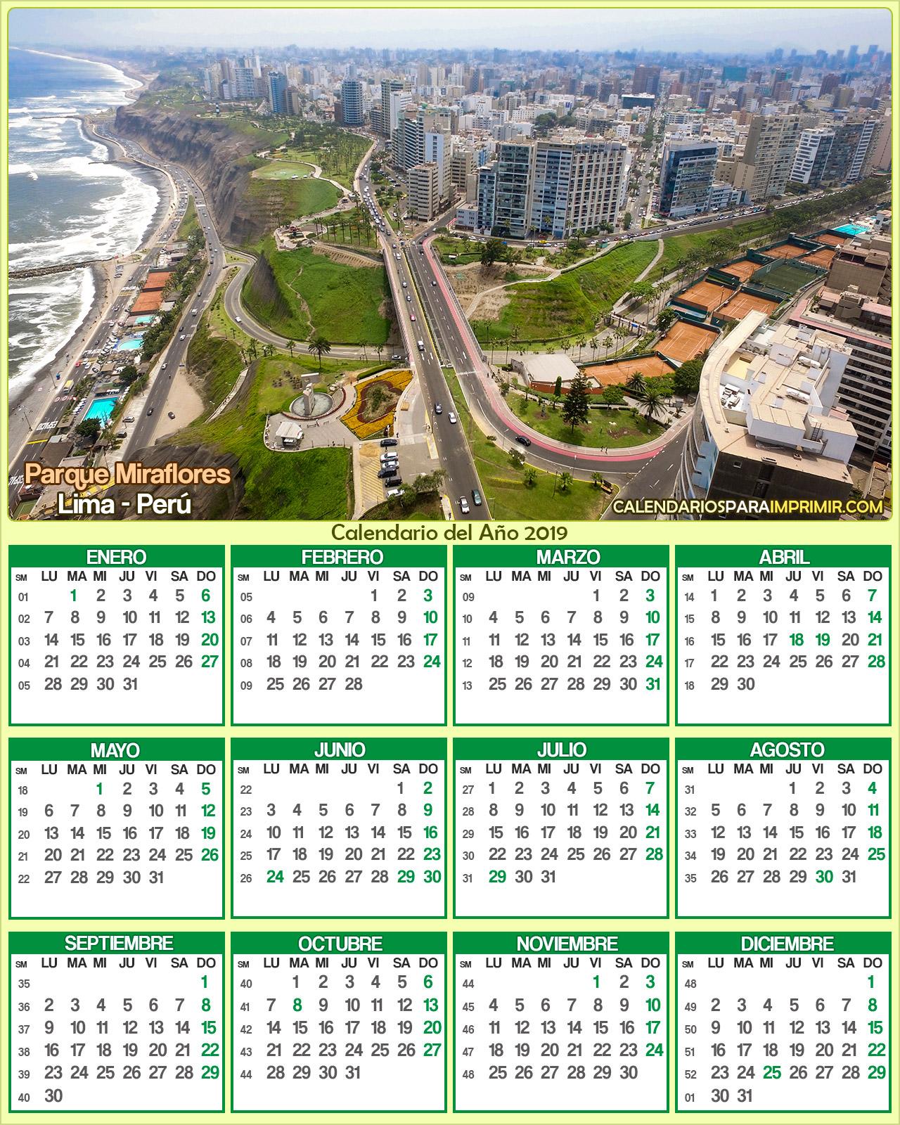 calendario peru 2019 lima