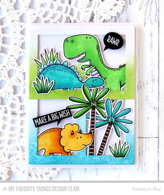 Handmade card from Yoonsun Hur featuring You're Rawr-some Stamp Set and Die-namics, Gift Box Cover-Up Die-namics #mftstamps