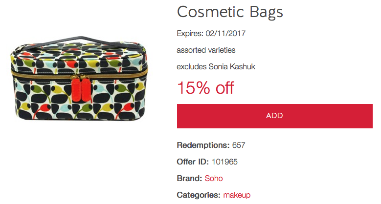 3f6b69172a6 Target's latest Cartwheel offers include 15% off cosmetic bags. There's a  new selection of Orla Kiely bags, so this is definitely a welcomed offer.