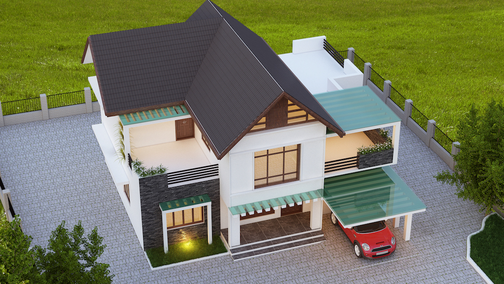 35 lakhs mixed contemporary style 4 bed room residence front view