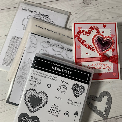 Stamps and dies used to create a handmade Valentine card