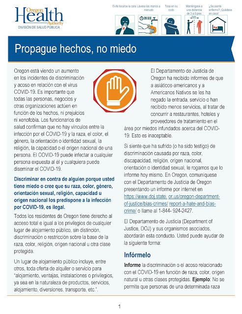 page 1 of 3 Spanish Oregon Health Authority graphic about COVID 19 discrimination