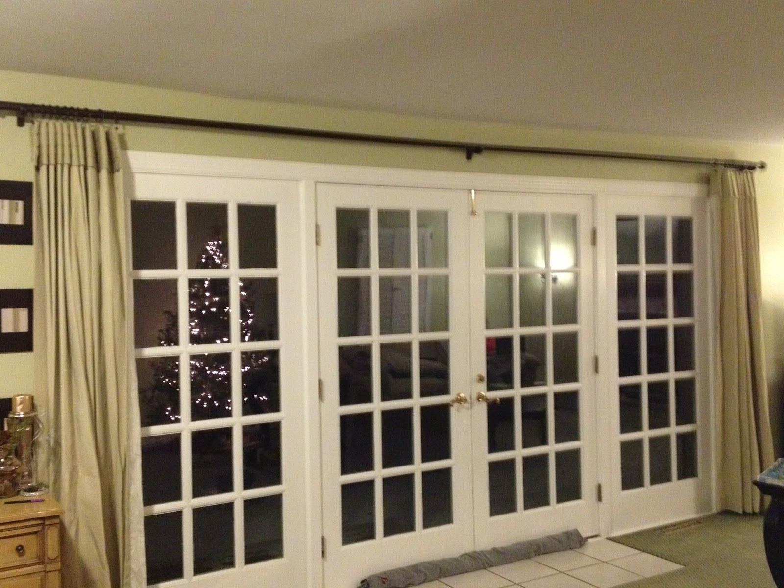 French Doors With Custom Length Curtain Rods Installed