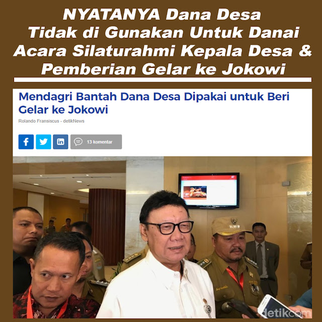 Mendagri Bantah Dana Desa Dipakai untuk Beri Gelar ke Jokowi