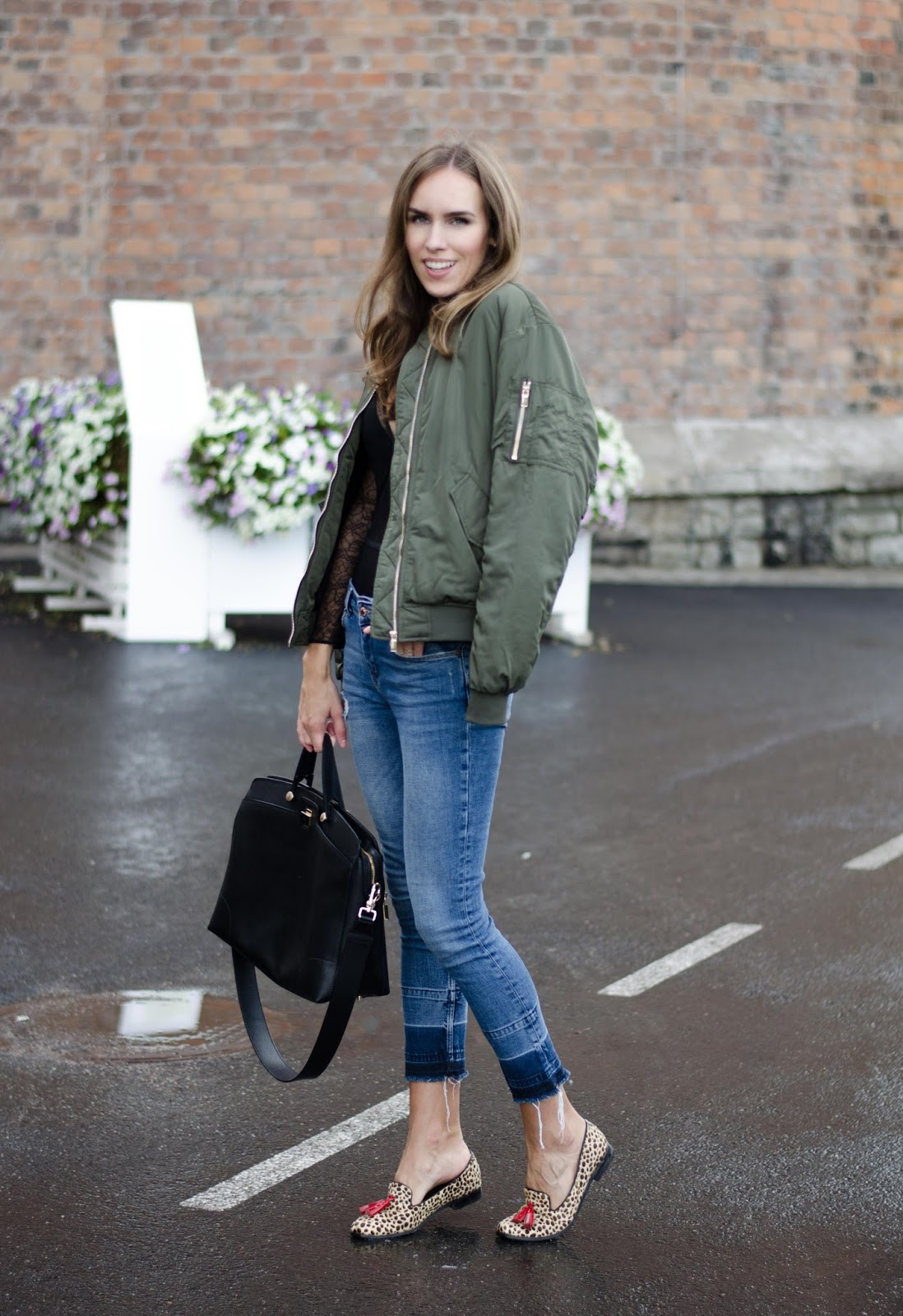 green bomber jacket outfit