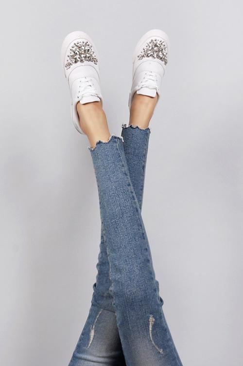Jagged Raw Hem Distressed Jeans