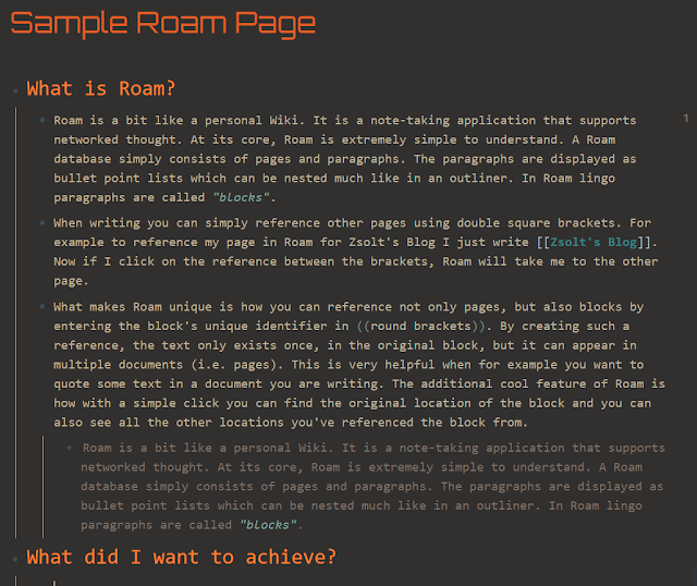 Sample Roam page demonstrating the nested bullet point structure of a Roam document