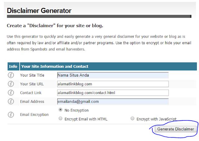 cara membuat disclaimer untuk blog