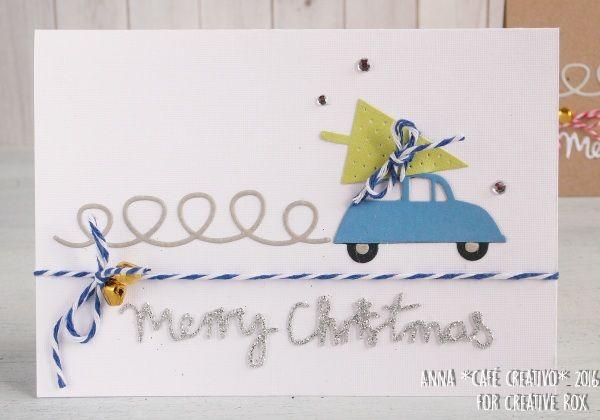 Biglietto fatto a mano con automobile e albero di Natale