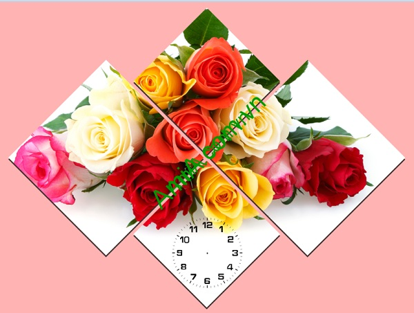 Tranh đồng hồ hoa Hồng ghép bộ ấn tượng, lãng mạn