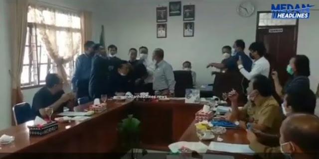 Ricuh saat Rapat, Ketua DPRD Humbahas (PDIP) Disiram Teh Panas oleh Ketua F-Golkar