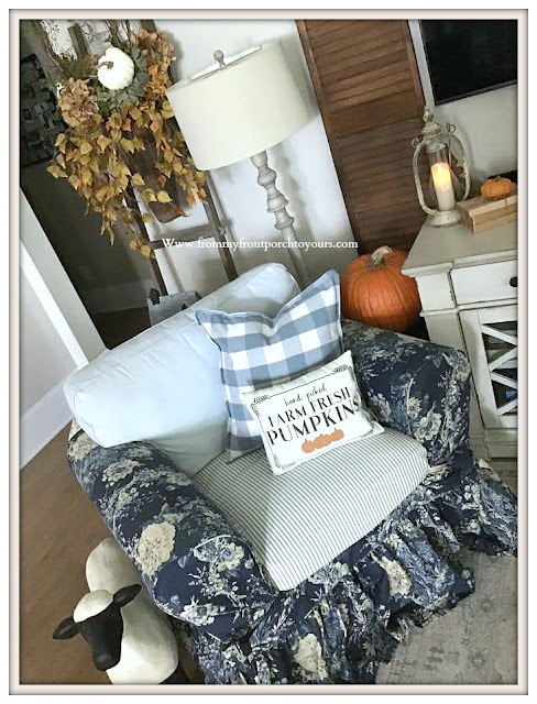 French- Country -Farmhouse-Living -Room -Fall -Decor-Pumpkin Pillow-Ballad-Bouquet-Slipcover--From My Front Porch To Yours