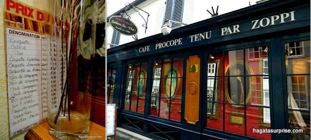Cardápio de uma padaria parisiense e o Café Procope, o mais antigo de Paris