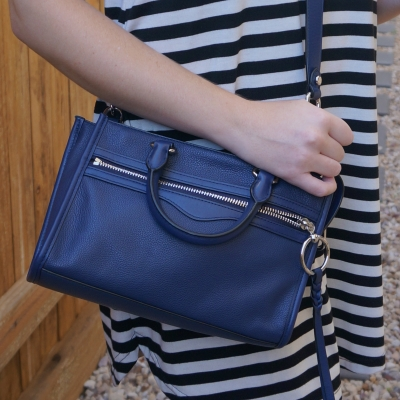 striped dress with Rebecca Minkoff Micro Bedford zip satchel in twilight | awayfromtheblue