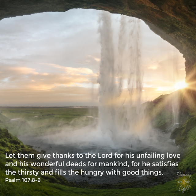 Let them give thanks to the Lord for his unfailing love and his wonderful deeds for mankind, for he satisfies the thirsty and fills the hungry with good things. Psalm 107:8-9