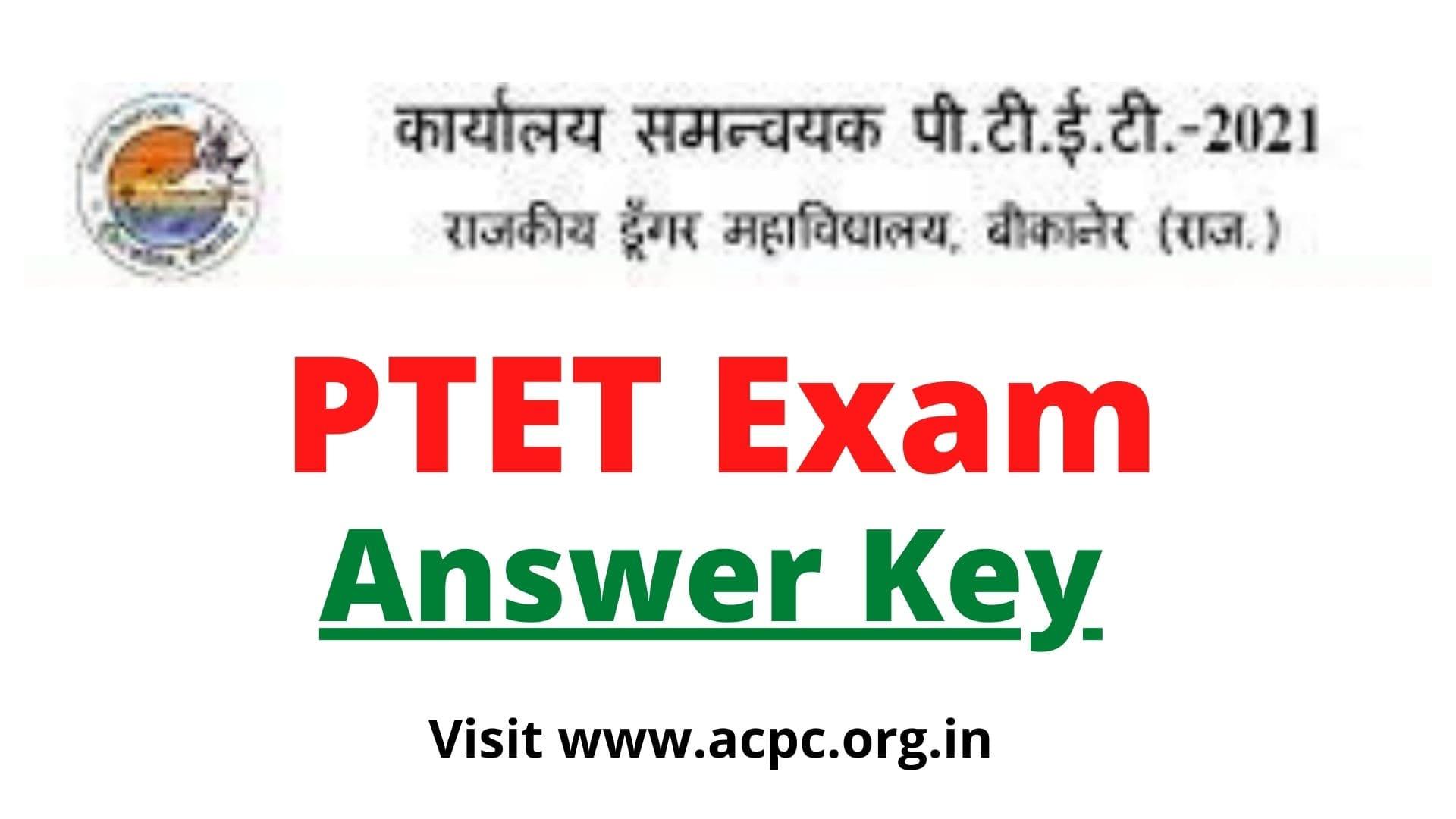 ptet answer key 2021 question paper