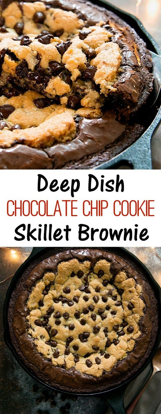 Deep Dish Chocolate Chip Cookie Skillet Brownie and Brookie Cups
