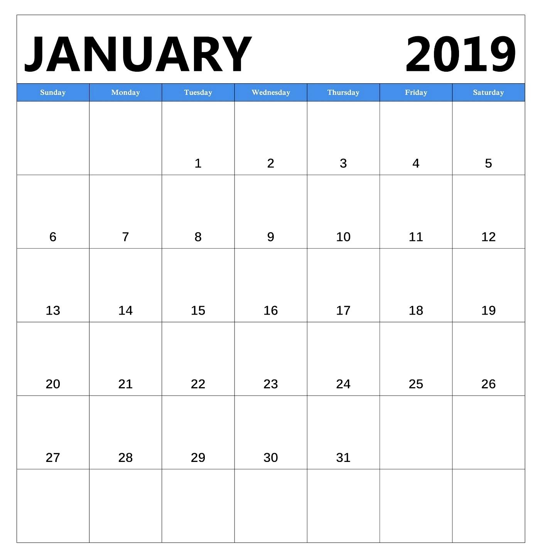 2019 Calenar: January 2019 Blank Calendar Free Download