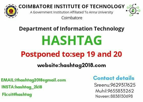 Hashtag 2K18 Symposium & Workshop at Coimbatore Institute of Technology