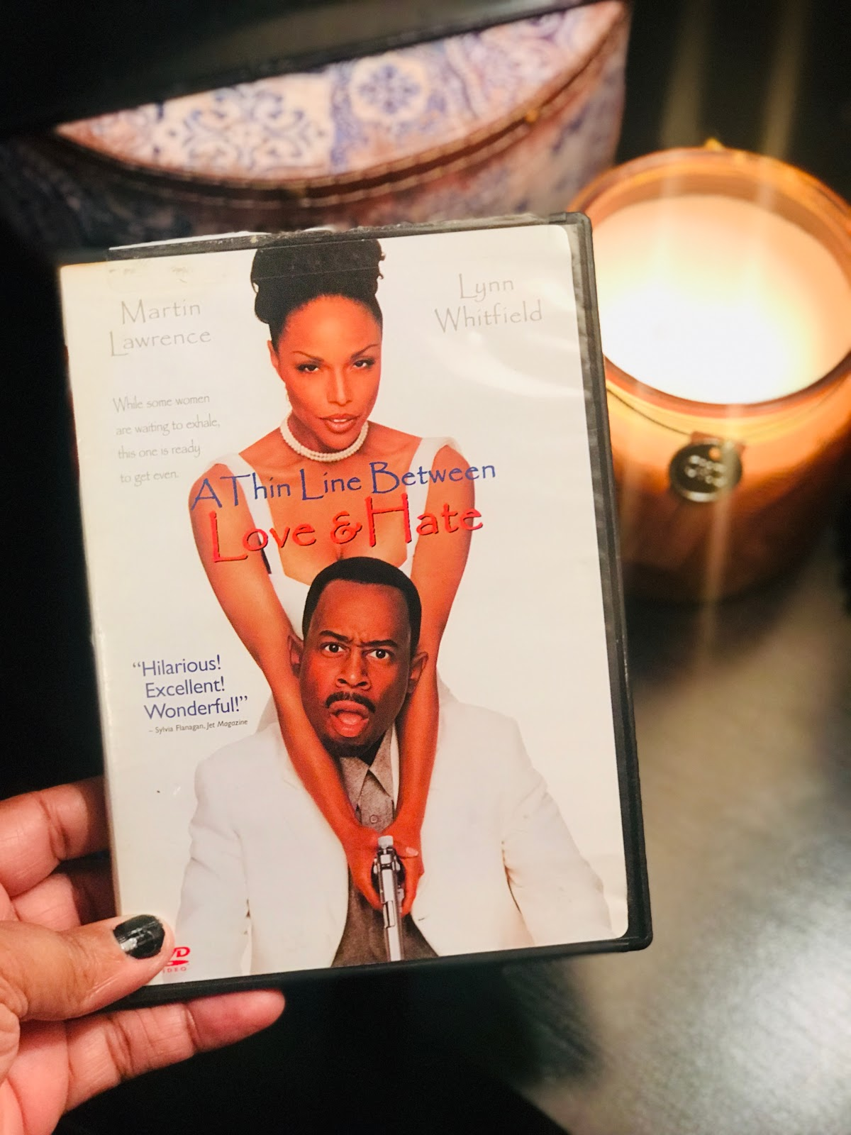 Image: Movie Night , A Thin Line Between Love and Hate DVD. Picture taken by Tangie Bell to share on Bits and Babbles Blog. Weekend Bits And Favorites: Such A Crazy Ending