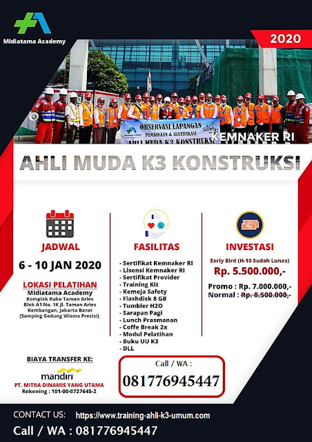 Ahli Muda K3 Konstruksi murah tgl. 6-10 Januari 2020 di Jakarta